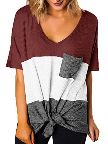 Women's Short Sleeve Tops Color Block Tees Knot Tie Tshirts Burgundy White Grey S -