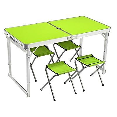 Xing Lin Table Pliable Une Table Pliante Table Pliante Et Président De La Table En Aluminium Portable Blocage Table Pour Renforcer La Table De Pique-Nique Table Promotion 120*60*60Cm, Vert Frais De Mise À Niveau