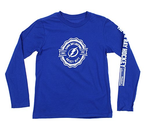 Reebok NHL Youth Boys 8-20 Long Sleeve Icon Tee, Tampa Bay Lightning