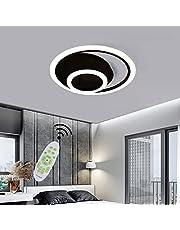 Dimbare led-plafondlamp met afstandsbediening, woonkamerlamp, eettafel, plafondlamp, metaal, acryl, ronde ring, modern creatief design, hanglamp, verlichting, slaapkamer, decoratieve lamp