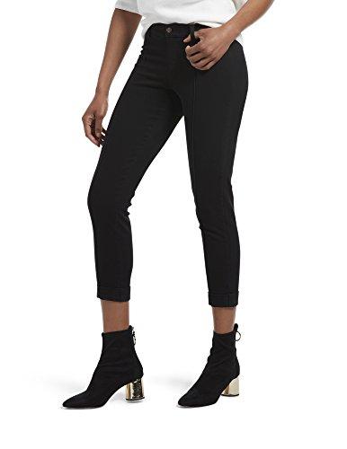 (HUE Women's Cuffed Skinny Chino Skimmer Leggings (Black, M))
