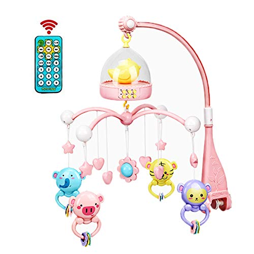 LeSharp Baby Toys, 0-12 Months Baby Remote Control Rotating Musical Crib Mobile Bed Rattle Bell Toy - Pink