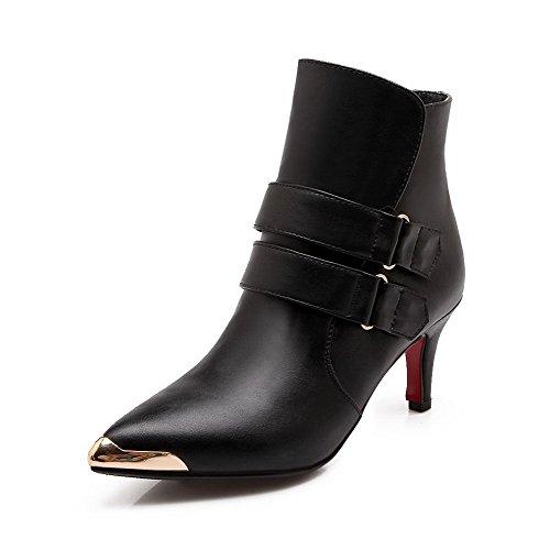 Heels Stiefel Metallornament High Schwarz Allhqfashion mit PU Klettverschluss Damen und wtPxHqI