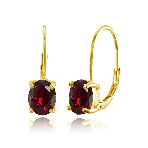 (Yellow Gold Flashed Sterling Silver Created Ruby 8x6mm Oval Leverback Earrings)