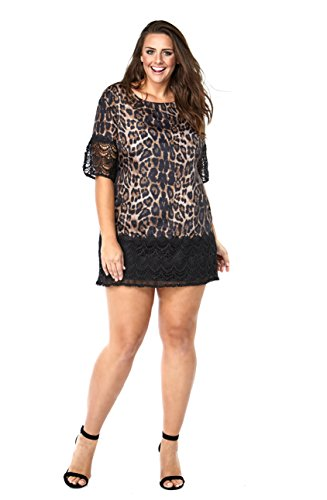 Currently Women's Plus Size Short Sleeve Leopard Print Black Crochet Lace Shift Dress 14W-32W (Print Dress Short Animal)