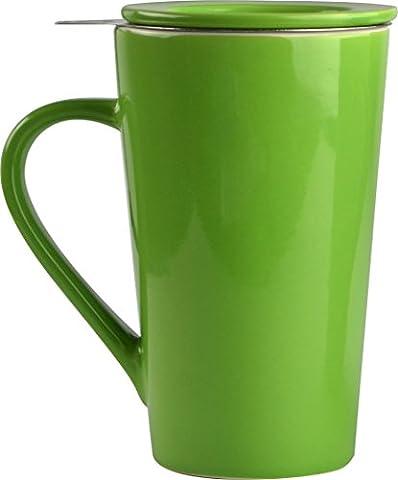 Asobu TEA TIME MUG SET a large 15 ounce loose leaf tea stainless steel infuser and porcelain mug with saucer (Lime)
