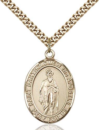 (14K Gold Filled Catholic Saint Bartholomew the Apostle Medal, 1 Inch)