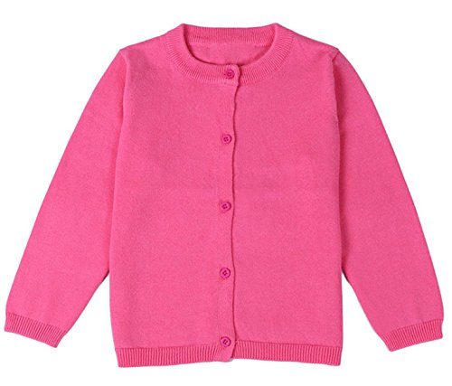 (GSVIBK Girls Cardigan Long Sleeve Crewneck Cardigans Solid Knit Button Sweater Cardigan Baby Girl 2-3Y Rose Red 6112)