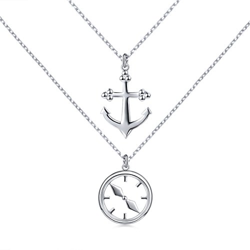 925 Sterling Silver Anchor and Compass Charm Double Layered Chain Necklace for ()
