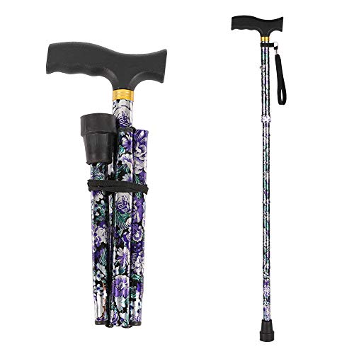 Folding Walking Cane,LIXIANG,5-Level Height Adjustable Walking Stick For Men & Women With Comfortable Plastic T-handle, Portable Walking Stick, Purple Floral Printing