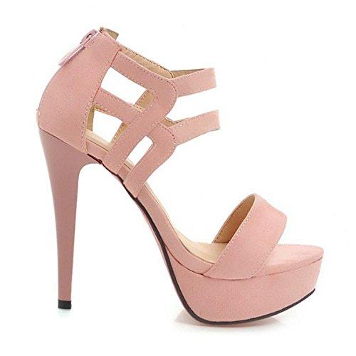 Shoes Strap Stiletto Summer Sandals Women Pink Heel 3 TAOFFEN Ankle nH05q4XwxA
