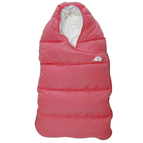 Infant Down Bunting (Kisbaby Unisex Baby Removable Synthetic Down Sleeping Bag 3.5 Tog Winter Double Zipper Bunting Bag for Newborn Baby 0-24 Months 35