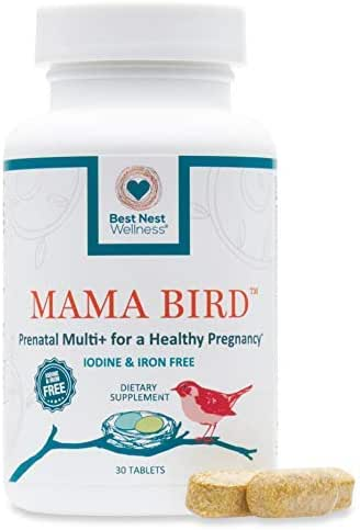 Mama Bird Prenatal Multivitamin, Iodine & Iron Free, Methylfolate (Folic Acid), Methylcobalamin (B12), 100% Natural Whole Food Organic Herbal Blend, Vegan, Once Daily, 30 Ct, Best Nest Wellness