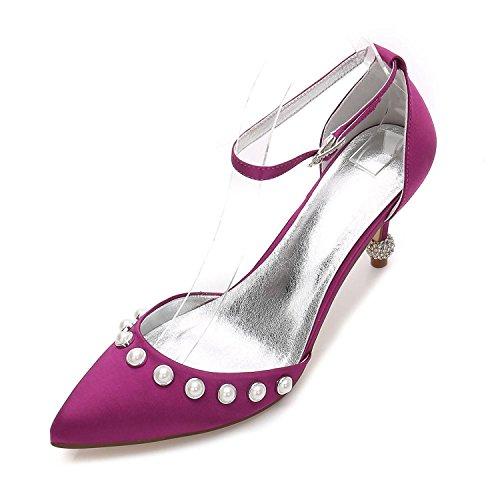 Elegant high shoes Zapatos de Mujer Básica de Boda Confort Confort Tobillo Correa de Punta Estrecha Zapatos Tacón Bajo Gatito Tacón de Aguja Purple
