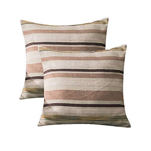 (RICHEE-NL Cotton Throw Pillow Case Stripe Cushion Cover for Sofa Bedroom Car, C12)