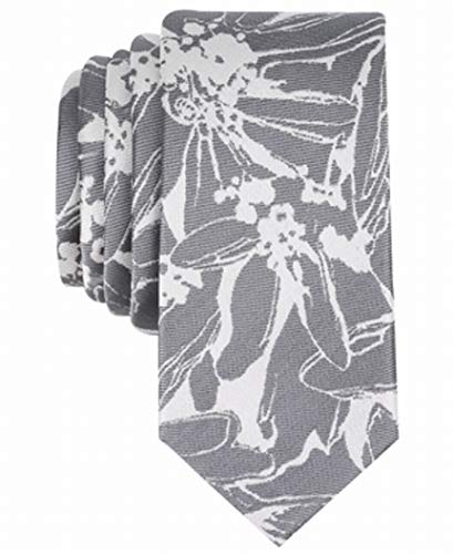 Bar III Men's Totness Abstract Floral Skinny Tie (Grey, ONE SIZE) (Bar Floral)