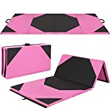 Best Choice Products 10ft 4-Panel Extra-Thick Foam Folding Exercise Gym Floor Mat for Gymnastics, Aerobics, Yoga, Martial Arts w/Carrying Handles - Pink/Black