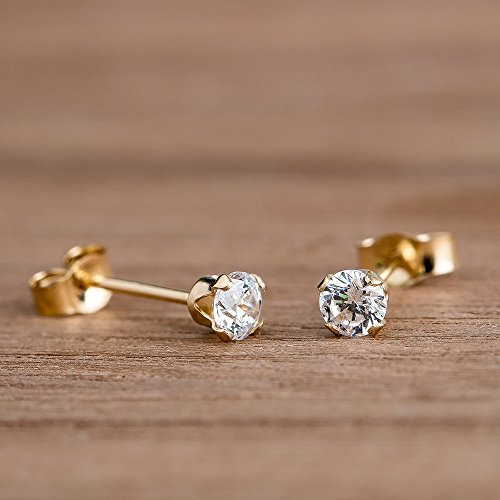 CZ Gemstone Stud Earrings in 14K Solid Yellow Gold with 3mm Cubic Zirconia - April (14k April Birthstone Ring)