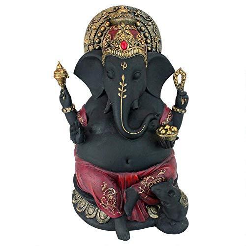 Design Toscano Sitting Lord Ganesha Granting Abhaya Hindu Elephant God Statue, 14 , Black Red Gold