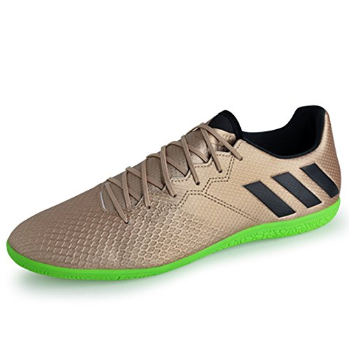 adidas Men's Messi 16.3 Indoor Soccer Shoe, Copper Metallic/Black/Solar Green, (10.5 M US) (Indoor Soccer Turf)