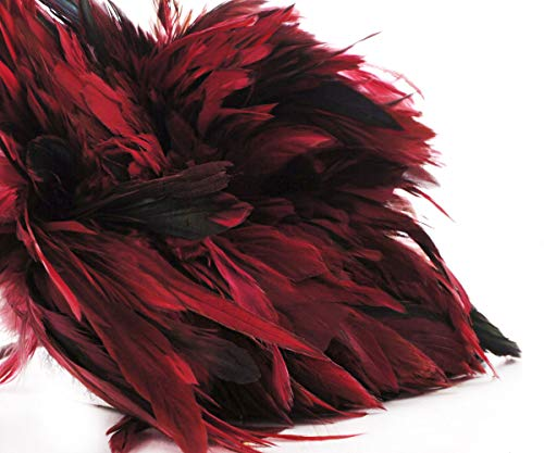40pcs Bordeaux Red Black Dyed Rooster Feathers Pendant Earrings Jewelry Millinery Saddle Costume Dreamcatcher 12-18cm