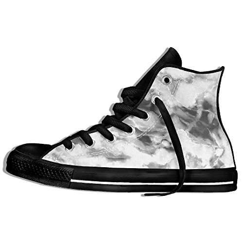 Classic High Top Sneakers Canvas Zapatos Antideslizante Marble White Casual Walking Para Hombres Mujeres Negro