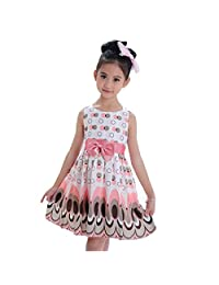 Changeshopping(TM)New Kids Girls Bow Belt Bubble Peacock Dress Party Clothing