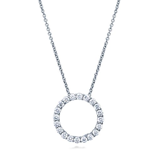 BERRICLE Rhodium Plated Sterling Silver Cubic Zirconia CZ Open Circle Pendant 17