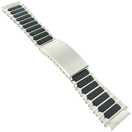 Silver Tone Metal Band (18mm Timex Ironman Sport Metal Silver and Black Tone Buckle Watch Band TX485168T)