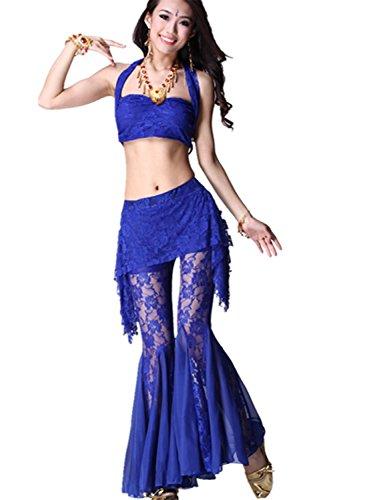 Danza del vientre Disfraz Set Sling Lace Top+Exotic Wide Leg Pantalones Dark Blue