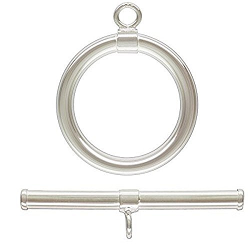 3 Qty. Large Classic Toggle Clasps, .925 Sterling Silver: Bar (2mmx24mm) & (2mmx15mm) Ring