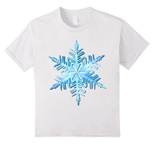 [Kids Snowflake fancy dress costume winter holiday t-shirt 4 White] (Holiday Recital Costumes)