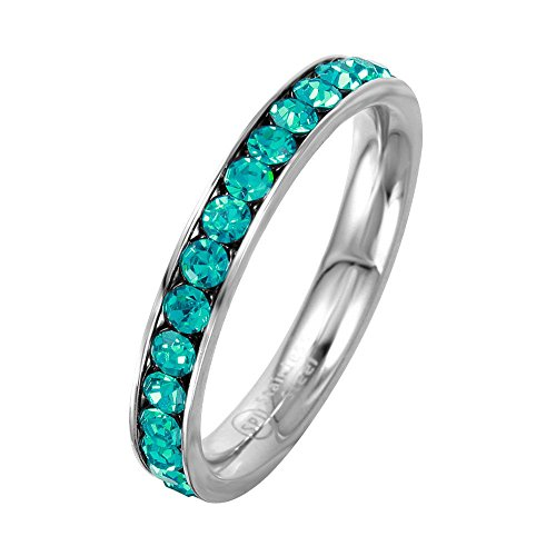 (SURANO DESIGN JEWELRY 3mm Stackable Stainless Steel Eternity Band Ring w/Crystal Birthstones (December-Blue Topaz Colored, 6))