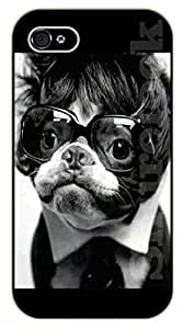 Case For HTC One M7 Cover Case Hipster dog, tie and large glassblack plastic case / dog, animals, dogs