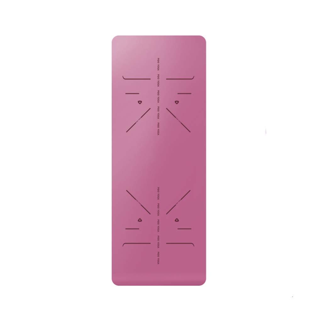 KKCD - ピラティス マット 自然ゴムラバーパッド入りヨガマットキャリーハンドルとピラティス、非スリップ非毒性 フィットネスヨガスポーツマット Yoga Mat (色 : ピンク)  ピンク B07QWW6N42