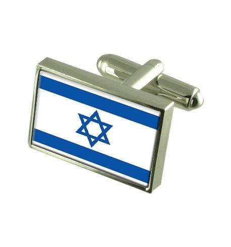 Israël Boutons de manchette drapeau avec boîte de souvenir gravé