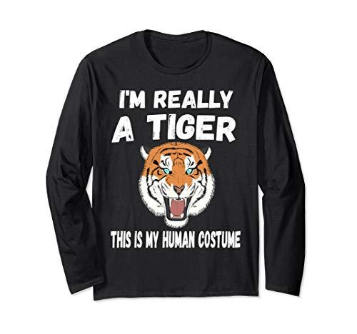 80's Wild Tiger shirt I'm Really A Tiger Funny tee Long Sleeve ()