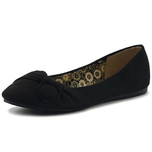 Ollio Women's Shoe Faux Suede Decorative Button Ballet Flat ZM1707F (7.5 B(M) US, Black)