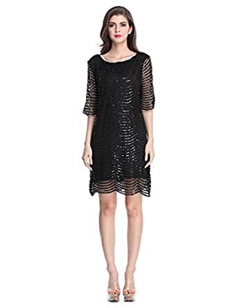 E.JAN1ST Women's Metallic Dress Boatneck 3/4 Sleeve Wave Black Shift Party Dresses, Black, tagsizeS=USsize2