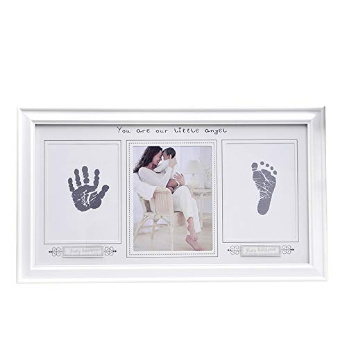 Baby Handprint and Footprint Frame - Allyooly Premium Quality Woody Photo Frame Kit Included Safe for Baby Clean-Touch Ink Pad for Baby Shower Gifts,Hand & Footprint Makers.