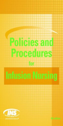 Policies and Procedures for Infusion Nursing Pdf