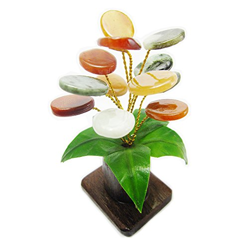 Him-Moei Feng Shui The Jade Stone Money Tree Natural Green Jade, Design of haulm is Teak and Leaves is soft - Stone Five 14k Gold