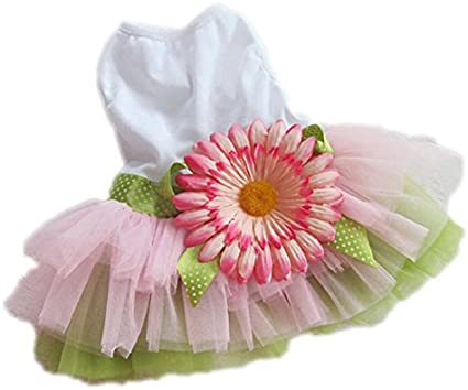 Howstar Puppy Clothes Cute Doggie Dress for Small Dog Stripe Princess Dress Bow Lace Skirt