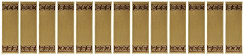 RugStylesOnline STD-STR-8x27-BEIGE-13 Meander Design Studio Collection Stair Tread Treads Indoor Greek Key Carpet Stair Tread DIY Double Sided Tape Included 8 ½ W x 27 L Set of 13