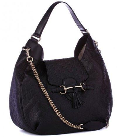 a6e7df302b6 Gucci Black Leather GG Print Hobo Bag  Amazon.co.uk  Shoes   Bags
