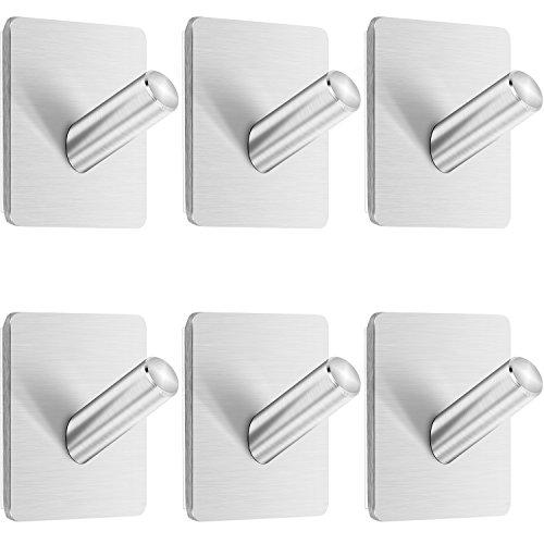 Anwenk Self Adhesive Hooks, 6 Pack Heavy Duty Wall Hook Towel Hook Coat Hook Hat Hook 304 Brushed Stainless Steel Bathroom Kitchen Super Power Wall Mount Hooks