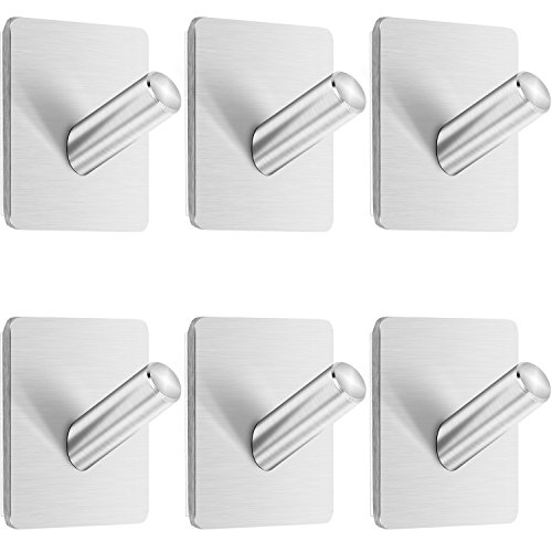 Anwenk Self Adhesive Hooks, 6 Pack Heavy Duty Wall Hook Towel Hook Coat Hook Hat Hook 304 Brushed Stainless Steel Bathroom Kitchen Super Power Wall Mount Hooks by Anwenk