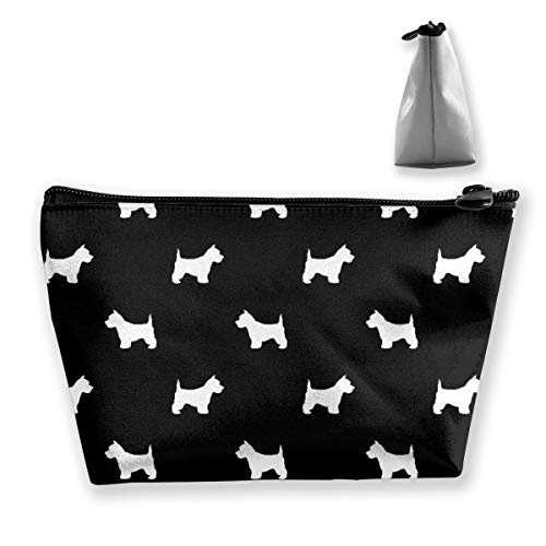 Westie West Highland Terrier Dog Silhouette Black Women Cosmetic Bags Portable Pouch Trapezoidal Storage Bag Travel Bag with Zipper