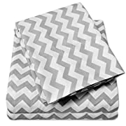 1500 Supreme Collection Bed Sheets - Luxury Bed Sheet Set with Deep Pocket Wrinkle Free Hypoallergenic Bedding - 3 Piece Sheets - Chevron Print- Twin, Gray