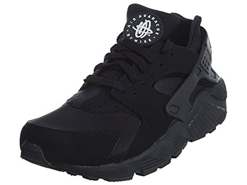 Nike Mens Air Huarache Black/Black/White Running Shoe (8) ()